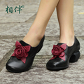 2017 Retro Style Handmade Women Shoes Pumps Med Heel Shoes Chunky Heels Genuine Leather Black Blue