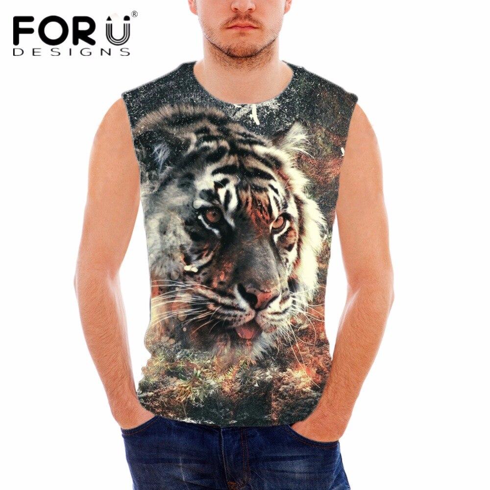 FORUDESIGNS Animal Do Vintage Tigre Imprimir Colete para Homens - Roupas masculinas