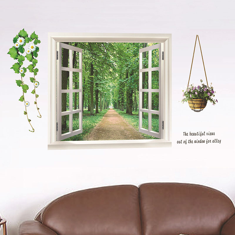 Aliexpress.com : Buy 2017 Brand New DIY PVC 3D Window Green Trees Wall  Decals Mural Kitchen Wall Stickers For Kids Rooms Bedroom Home Decor  Posters From ... Part 81