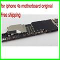 100% teste bem e bom trabalho para o iphone 4s mainboard, 16g desbloqueado original para iphone 4s motherboard com chips de livre grátis