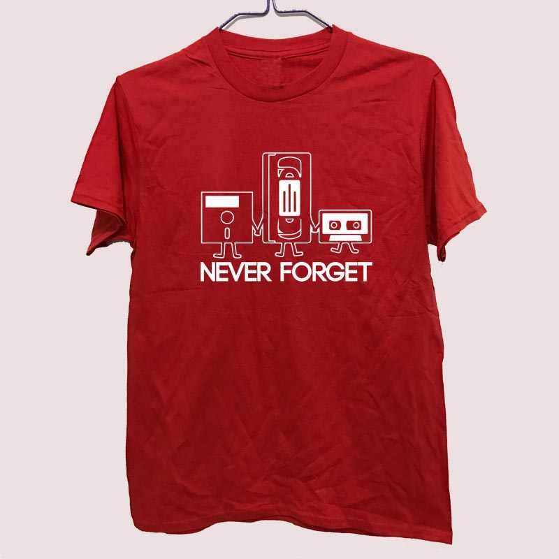 Moda yeni t-shirt erkekler kısa kollu asla unutma disket VHS kaset teknoloji inek baskı T shirt erkek fanilalar tişörtleri