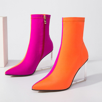 Fashion Mixed Colors Ankle Boots Women Wedges High Heels Stetch Boots High Quality Autumn Winter Candy Colors Ladies Shoes