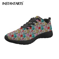 INSTANTARTS Women Red The Spanish Dancer Flamenco Flat Sneakers 3D Ballet Print Women's Air Mesh Shoes Zapatos Mujer Female Lady