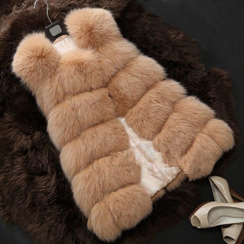 S 4XL Female Fur Waistcoat 2016 New Winter Warm Faux Fox Fur Vest Women High Grade