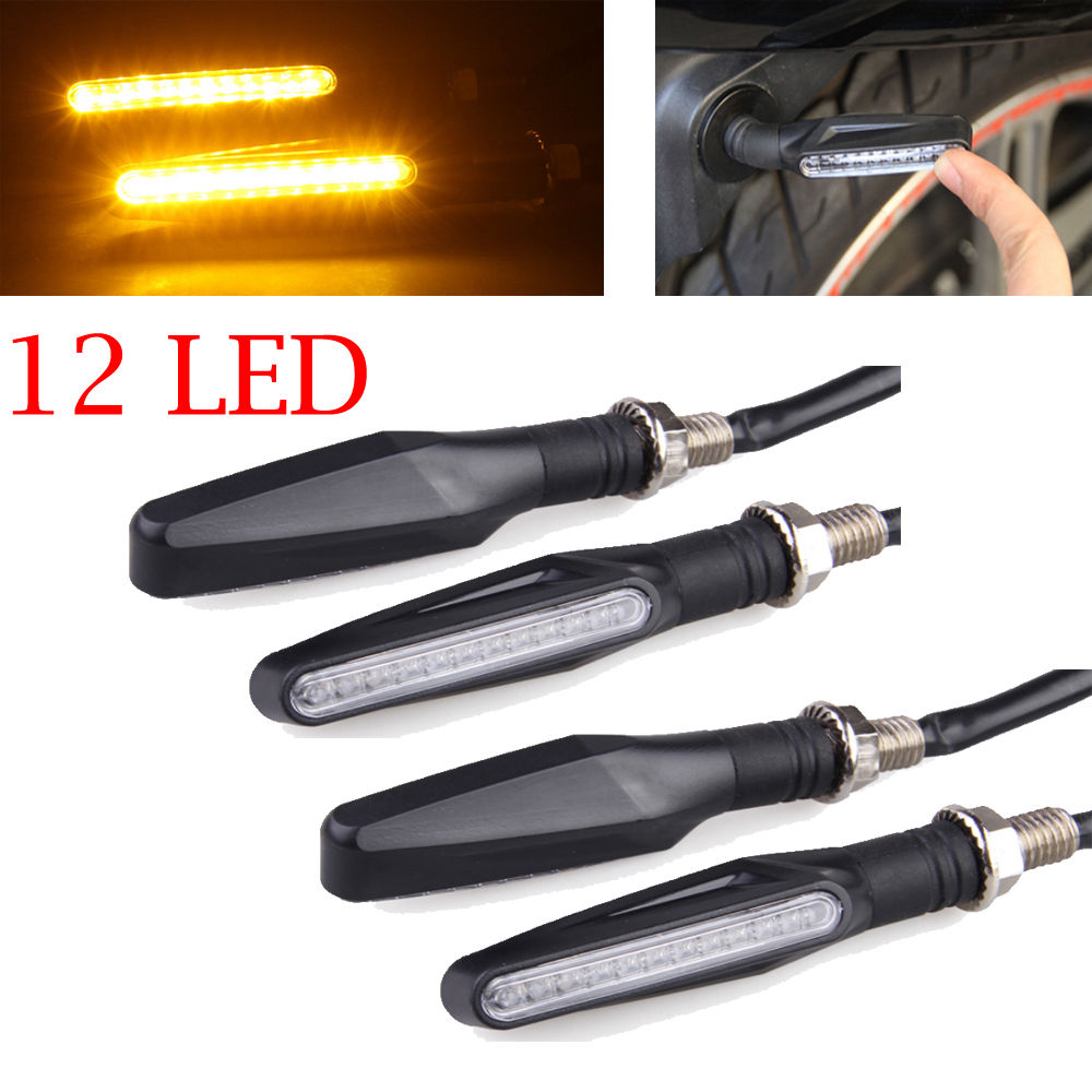 4 pcs 12 LED Motorcycle Turn Signal Lights Bendable Flashing Motorbike Indicator Blinker Moto Tail Lights Signal Lamp for Harley