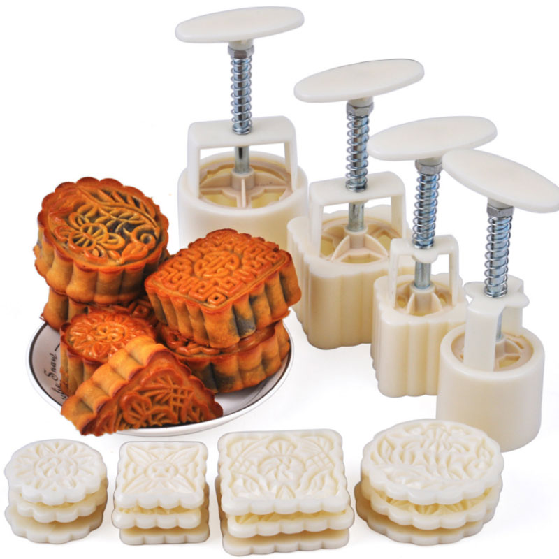 50g and 100g Moon Cake Moulds Hand Pressure Round & Square DIY Biscuits Molds Cookie Cutters Set Cake Tools 16pcs/set CT035 ...