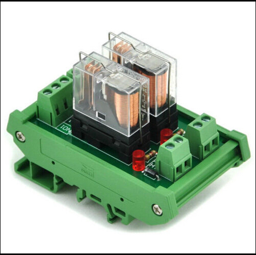 DIN Rail Mount 2 SPDT 16A Power Relay Interface Module,OMRON G2R-1-E DC12V-24V Relay fused 4 dpdt 5a power relay interface module g2r 2 12v dc relay