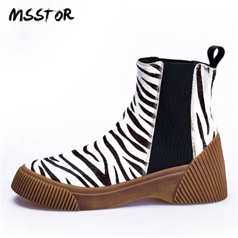 MSSTOR Casual Fashion Leopard Shoes Round Toe Black Boots Sexy Horse Hair Autumn Winter Horse Boot Wedge Ankle Boots Women 5CM fashion horse hair tassels leather leopard pattern flat shoes black brown pair 37