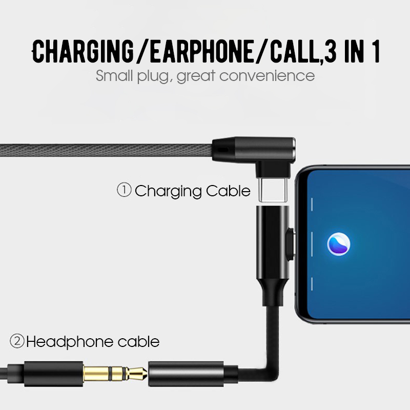 2IN 1 USB C To 3.5mm AUX Audio Adapter For Oneplus 6T USB Type C To 3.5 Earphone Converter Charging Cable Adapter For Huawei P20