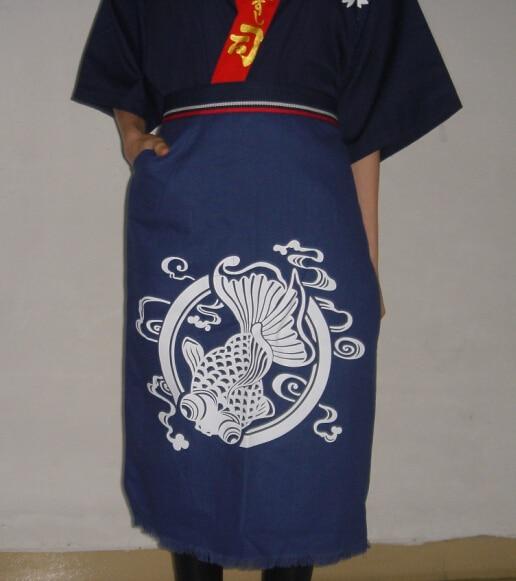 Gratis Verzending Vrouwen Mannen Japanse Karper Chef/cook Taille Schorten Sushi/sashimi Restaurant Bar Cook Uniform, Goudvis 64 Cm Lange
