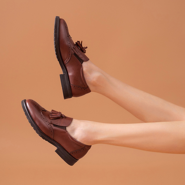 Women Loafers Calfskin Genuine Leather Fringe Brogue Style Round Toe Slip-On Spring Autumn Ladies Casual Flats A21047