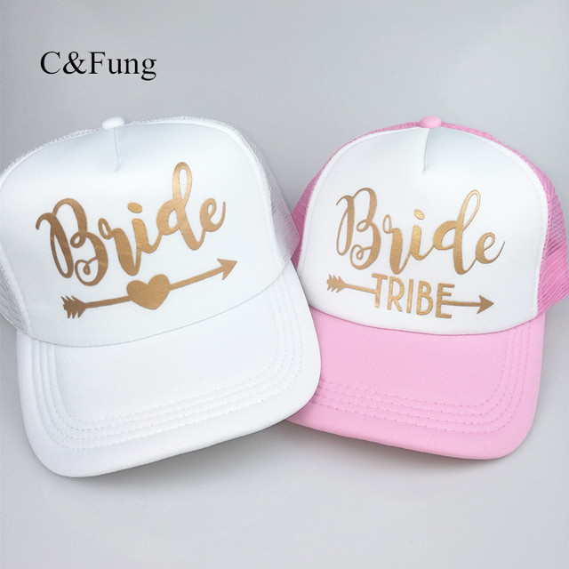 fe976684505 C Fung Bride tribe trucker hats high quality bachelor party hats bridesmaid team  bride hat caps gold printing summer style hats