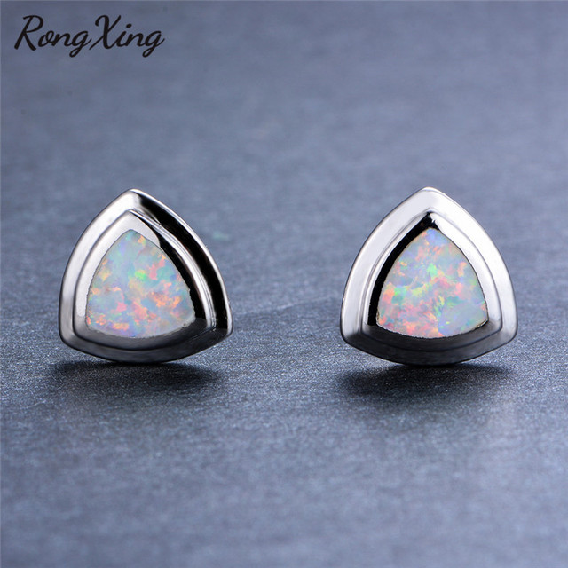 f664cd575 RongXing 925 Sterling Silver Filled White/Blue Fire Opal Stud Earrings for  Women Vintage Fashion Jewelry Wedding Earring Ear0730