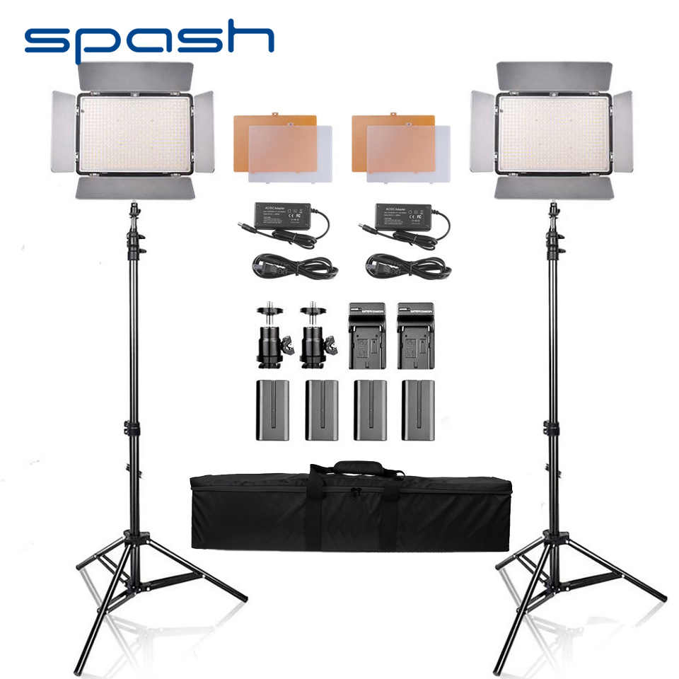 spash TL-600S 2 in 1 Kit Portable LED Video Light Photo Lamp 25W 5500K Photographic Lighting with Tripod Stand for Youtube Shoot