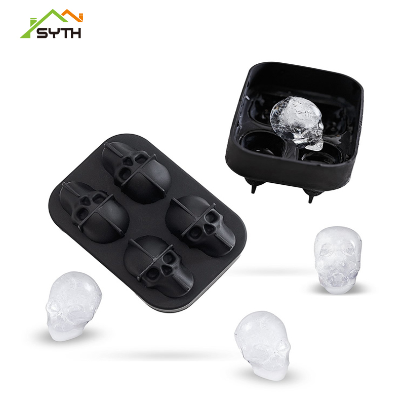 SYTH/3D SKULL ice cube genieKitchen Silicone rubber Chocolate Tray Cake Candy Mould Bar Party Cool Whiskey Wine Ice Cream Tools