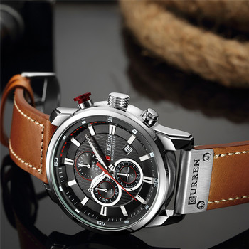 CURREN Men's Luxury Casual Chronograph Waterproof Date Genuine Leather Watches 1
