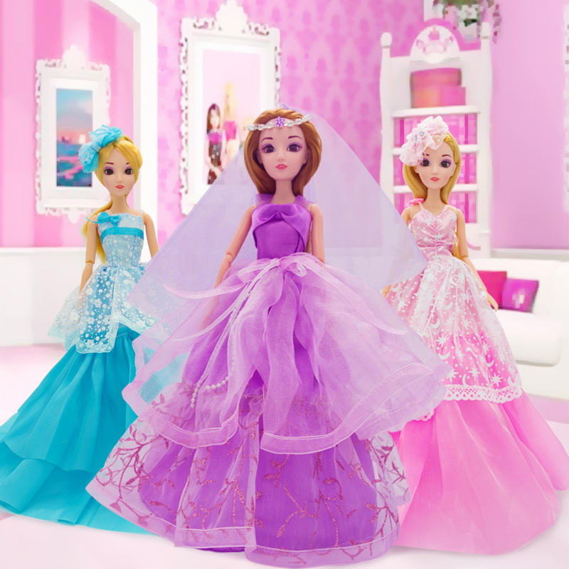 Cute Pretty Doll Toys High Quality Silicone Movable Joint Body Princess Wedding Dress Dolls Best Gift for Girl Kids 13 Colors