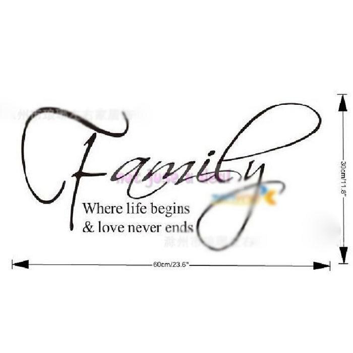 familie spreuken 1 ST 30*60 CM PVC Familie Engels Quote Engels Spreuken  familie spreuken