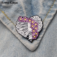 Homegaga Flowers skeleton feminist Pins for men women para Shirt Charm Coat insignia Clothes backpack medal Badge Brooches D1501