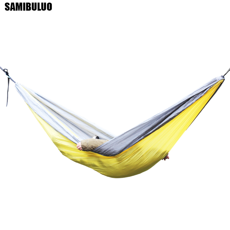Image 4 - SAMIBULUO Outdoor High Quality Adults Durable Parachute Camping Hammock With Tree Straps Double-in Hammocks from Furniture