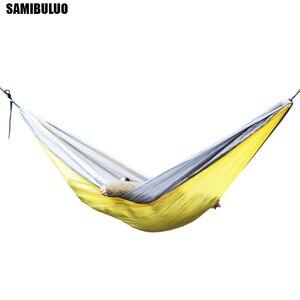 Image 4 - SAMIBULUO na świeżym powietrzu wysokiej jakości dorosłych trwałe spadochron Camping hamak z opaska na drzewo podwójne