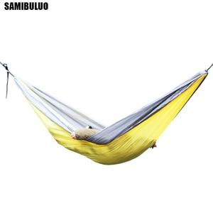 Image 4 - SAMIBULUO 屋外高品質大人耐久性パラシュートキャンプハンモック木ストラップダブル
