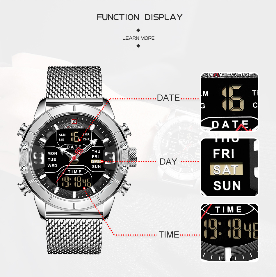 NAVIFORCE Mens Watches Top Brand Luxury Mesh Steel Multiple Time Zone Waterproof Watch For Men Silver Watch Relojes Para Hombre (2)