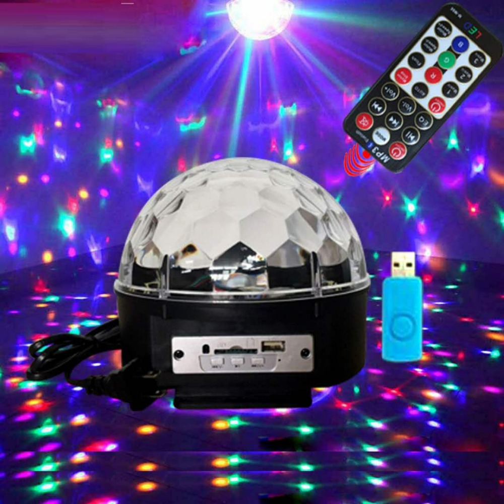 Mp3 magic ball lights voice control Christmas projector stage lights MP3 infrared remote control digital crystal magic ball DJ b