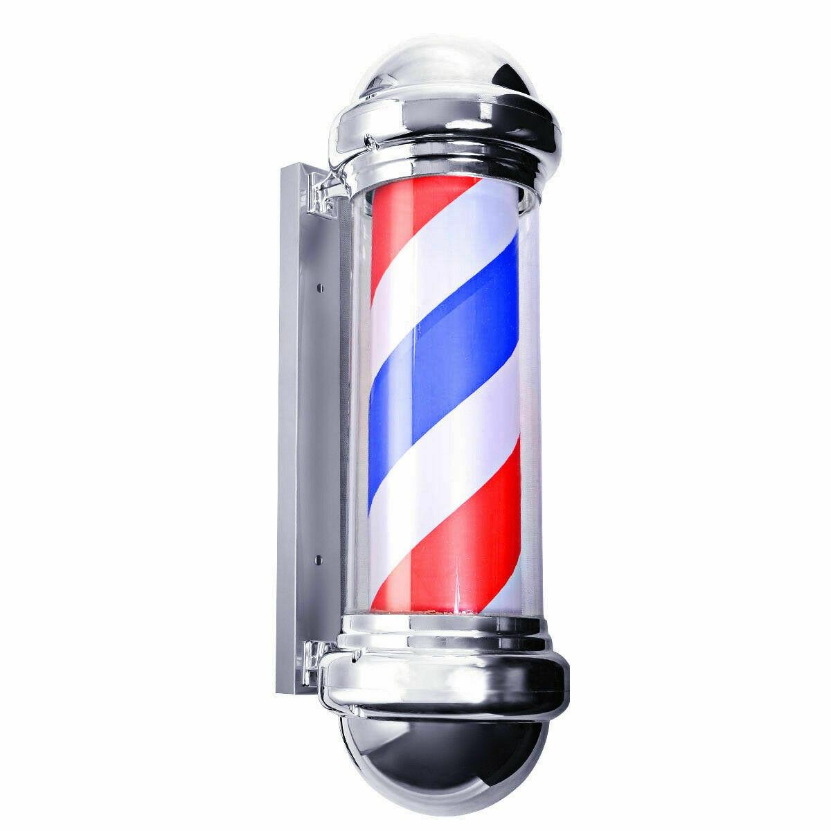 60/75cm pôle de barbier éclairage rotatif équipement de Salon de beauté Salon de coiffure signe tenture murale LED Downlights rouge blanc bleu rayure - 3