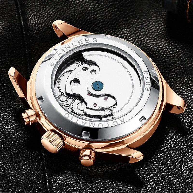HAIQIN جديد الفاخرة التلقائي الميكانيكية ووتش الأزياء الأعمال كامل الصلب ساعة اليد للماء جلدية ووتش الرجال رزنامة ساعة-في الساعات الميكانيكية من ساعات اليد على  مجموعة 3