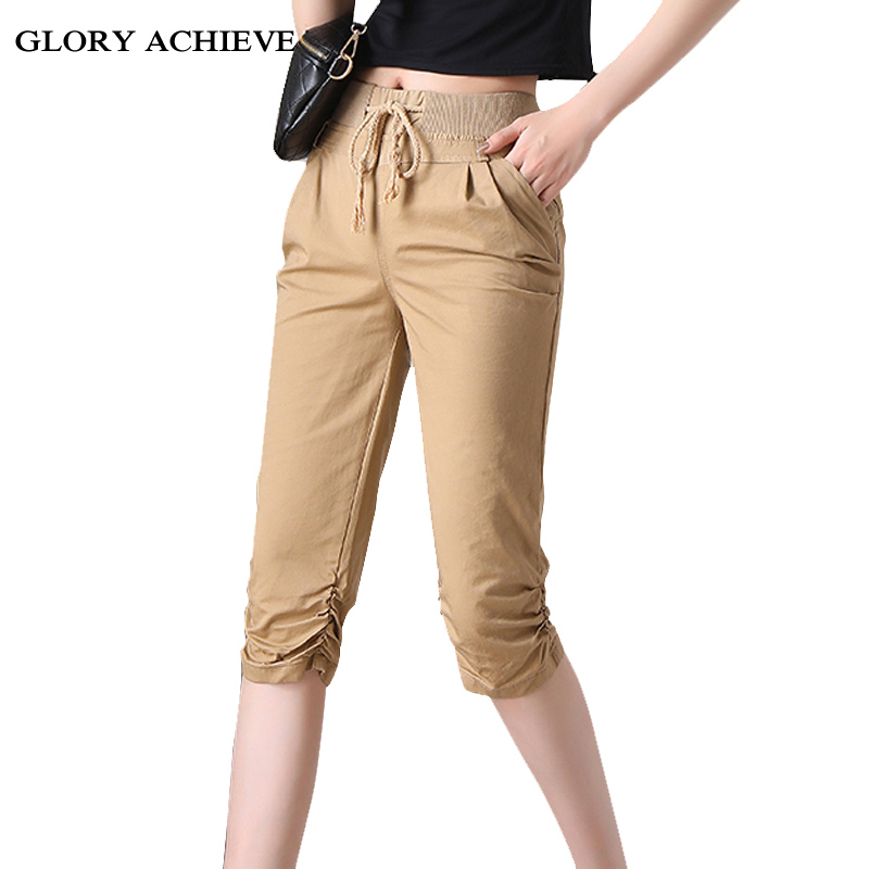 New 2019 Summer   Pants   97%Cotton High Waist Pencil   Pants     Capris   Plus Size Women Casual   Pants   Drawstring woman   pants   khaki black