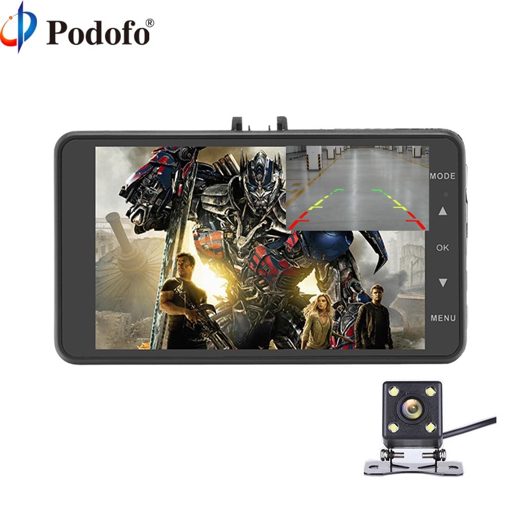 Podofo Car DVR Camera Dual Lens IPS 4 Full HD 1080P Video Recorder Registrator Loop Recording Dashcam Video Recorder Registrar