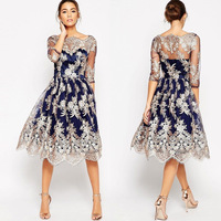 Fall 2017 Fashion Retro Elegant Dress Amazon Women S Clothing Australia Dress European Embroidery Lace Dresses