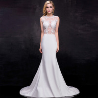 Under $70 Vestido De Noiva 2015 Sexy White/Ivory Cheap Mermaid Wedding Dresses Appliques See Through Back With Sweep Train