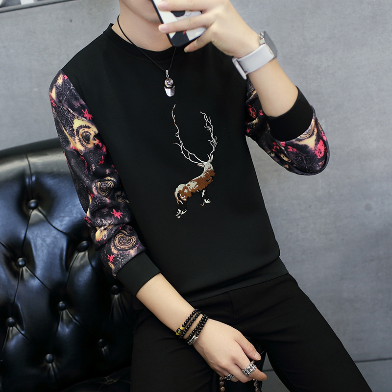 New Deer Printing Hoodies Men Brand Tracksuit Space Cotton Slim Fit Couples Casual Sportswear Floral Printed Teenagers Clothes High Quality And Inexpensive Men's Clothing