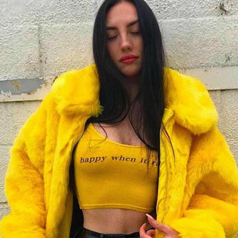 Taklit Kürk Mantolar Kadın Kalın Marka Streetwear Hip Hop Kadın Sarı Kürk Mont Ve Ceketler Kış sıcak Kürk Mantolar cwf0022-5