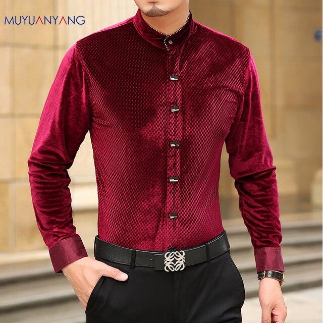 Mu Yuan Yang 2020 sonbahar yeni rahat erkek uzun kollu gömlek ile yüksek kaliteli gömlek Slim Fit uzun kollu erkek gömlek erkek gömlek 50% kapalı büyük boy 3XL