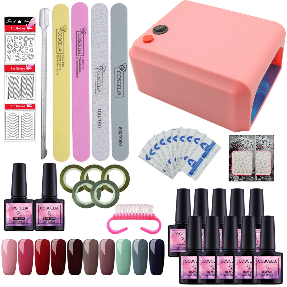 Gel Polish Nail Art Tools Manicure Set of UV LED Lamp 40 Color UV Gel Nail polish Art Tools Nail Set Kit Gel Nail Polish Set DIY coscelia nail art tools for manicure 36w uv lamp for nail 10 color uv gel manicure set gel nail art set for gel nail polish