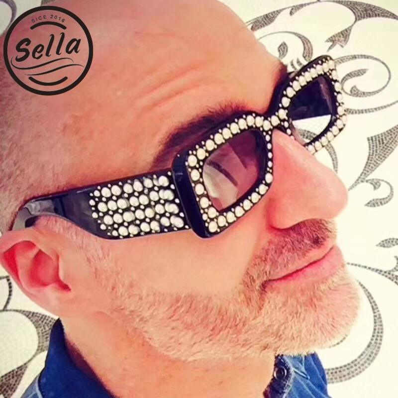 sella 2018 New Fashion Women Men Narrow Small Square Pearl Frame Goggle Sunglasses Brand Designer Trending Female Sun Glasses