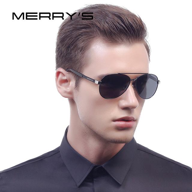 Merry's clásicos hombres de aviación gafas de sol polarizadas hd conducción gafas de sol de lujo de diseño de marca de aluminio s'8628