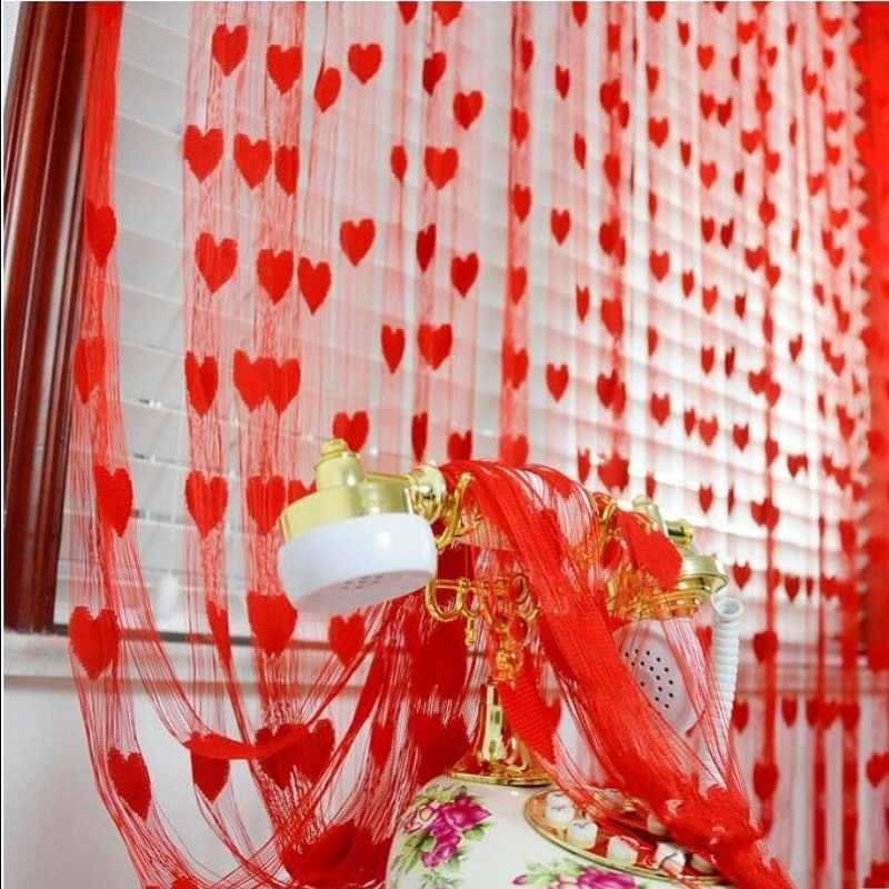 Door Window Hanging Decor heart shape Line Curtain 100 x 200cm Partition Wall Vestibule string curtains for living room WP240#3