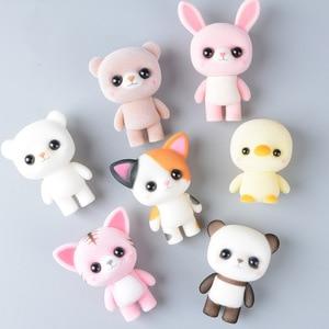 Koteta Kawaii PVC Flocking Doll Furry Panda Pengiun Duck Mini Animals Toys Figure Children Kids Birthday Girl Christmas Gift
