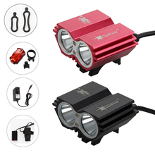 12000 mAh batterie 5000 Lumens 2x XM-L U2 LED Vélo Vélo vélo Lumière Led Lampe Phare Phare & feu arrière Livraison gratuite