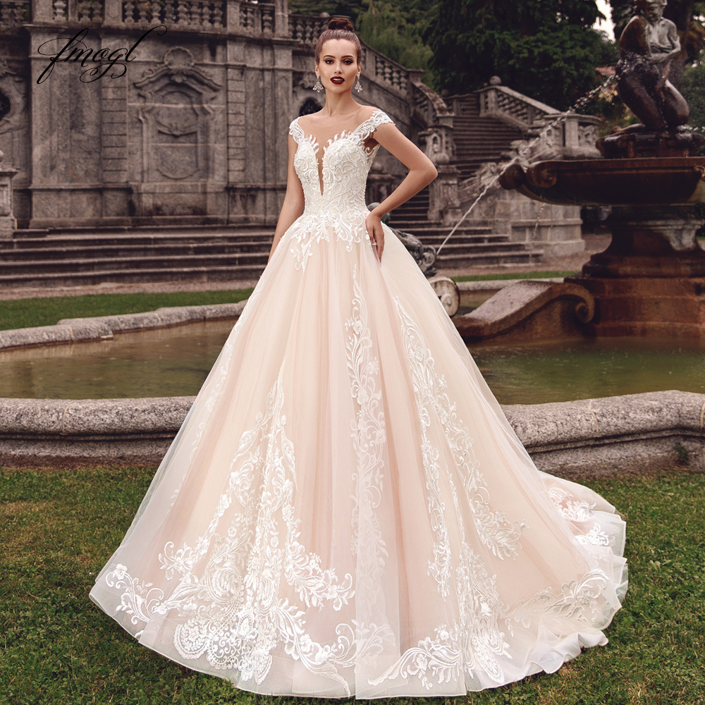 Fmogl Sexy Backless Cap Sleeve Princess Wedding Dresses 2020 Luxury Appliques Lace Court Train Vintage A Line Bridal Gowns