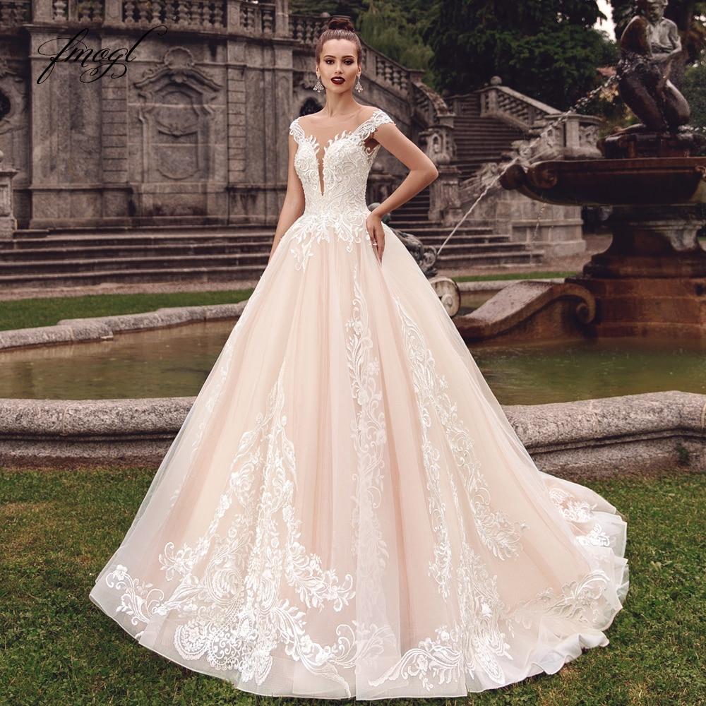 Fmogl Sexy Backless Cap Sleeve Princess Wedding Dresses 2020 Luxury Appliques Lace Court Train Vintage A Line Bridal Gowns