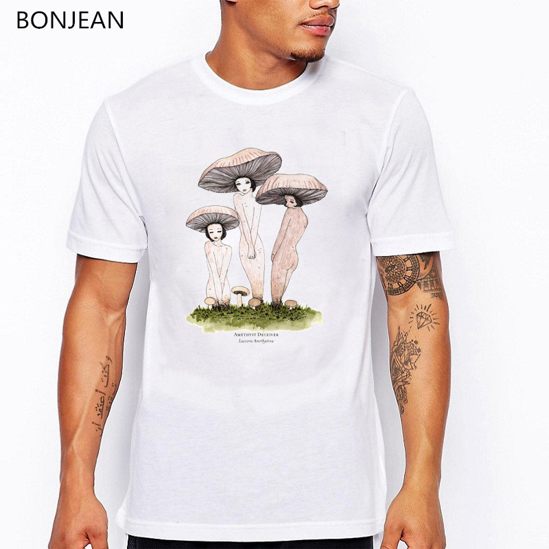 Summer 2019 Vintage T Shirt Men's Mushroom Girls Print Funny Tshirt Men Creative T Shirts Mens Tshirts Tee Shirt Homme Tops