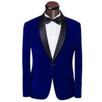 New suit jacket man dress jacket velvet material sapphire blue jacket black green apple collar custom jacket