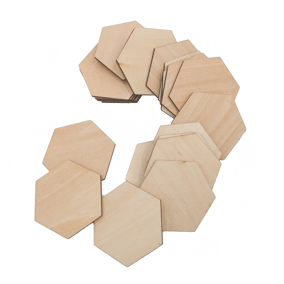 50pcs Wooden Wood Hexagon Pieces Art Painting Craft Cardmaking Scrapbooking DIY