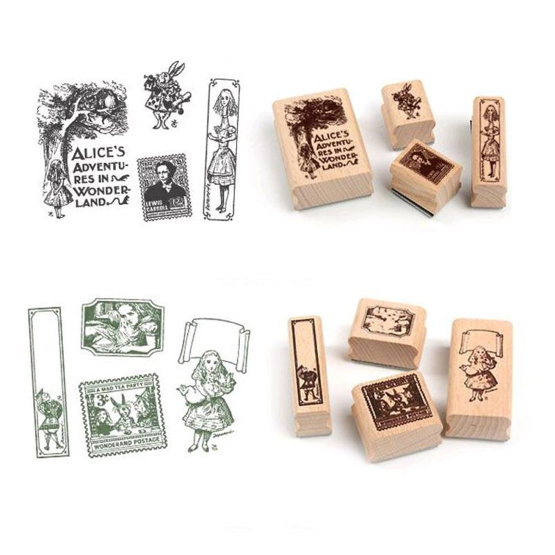 New Design 4Pcs Vintage DIY Rubber Wooden Stamp Box Set For School Scrapbooking Teaching Decoration Supplies цифровая камера other great create lisa pavelka rubber stamp set exotique strip