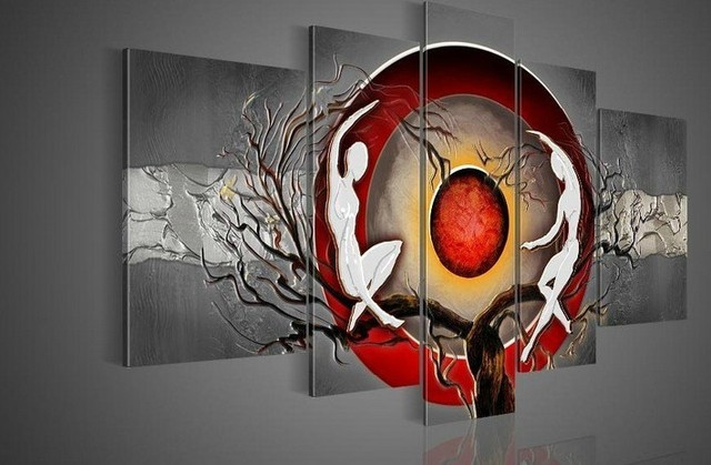 100% hand-painted wall art silver big tree red sun dance wall decoration abstract Landscape oil painting on canvas 5pcs/set